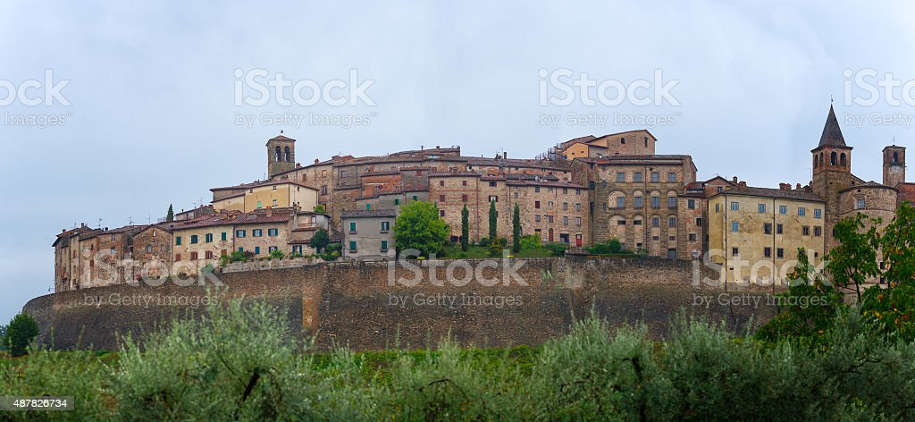 Panorama of Anghiari medieval village in Tuscany - Italy stock photo