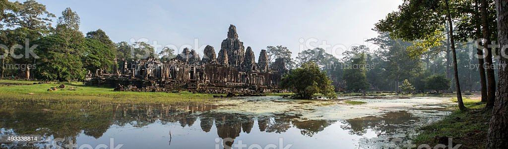 Panorama of Angkor Thom temple in Angkor Wat heritage site stock photo