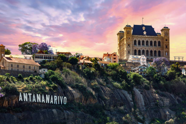 panorama of Antananarivo capital of Madagascar stock photo
