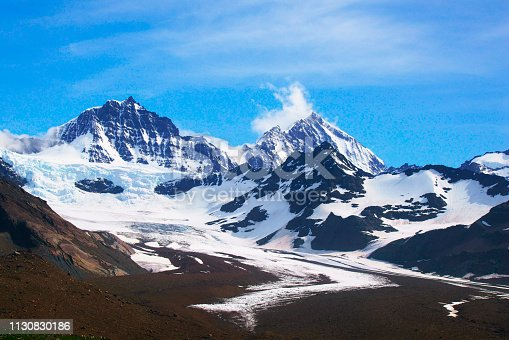 Panorama of Antarctic Landscape with Mountains