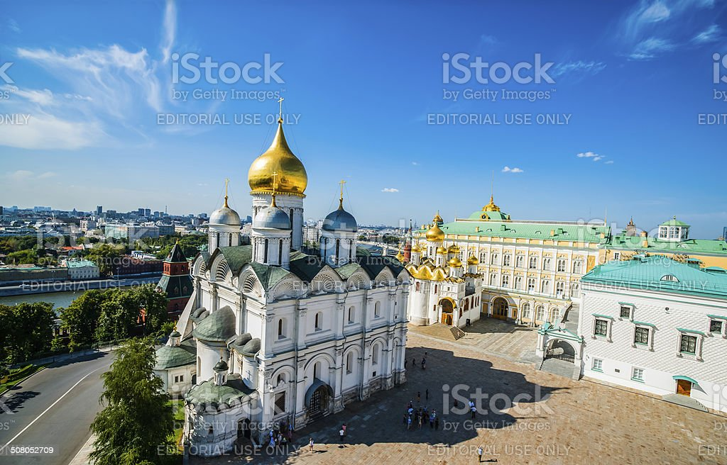 Panorama of Archangel, Annunciation cathedrals, Palace of the Fa royalty-free stock photo