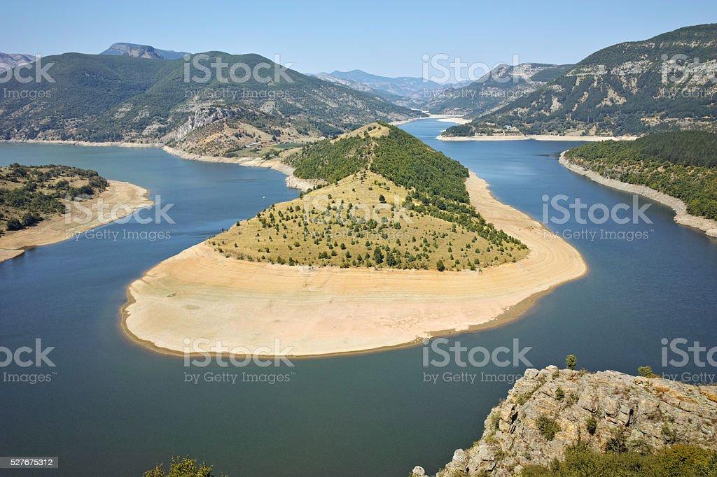 Panorama of Arda River and Kardzhali Reservoir, Bulgaria stock photo