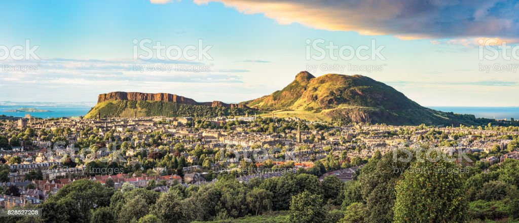 Panorama of Arthur's Seat in Edinburgh, Scotland stock photo