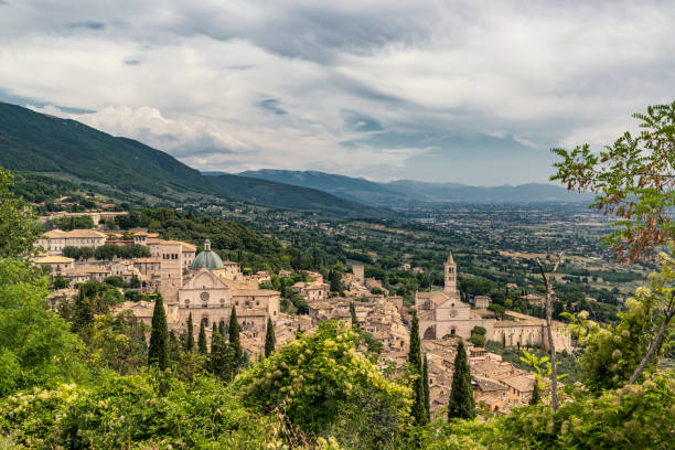 Panorama of Assisi town. Famous landmark and tourist and pilgrimage destination in Perugia, Italy.
