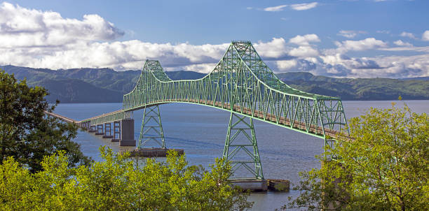 Panorama of Astoria Bridge. stock photo