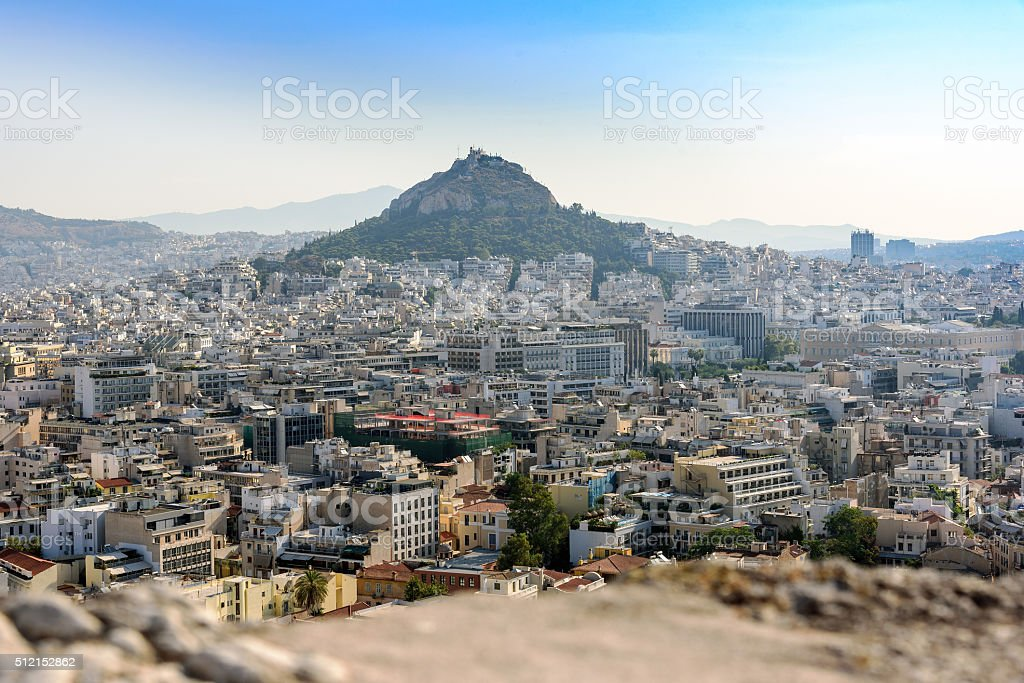 Panorama of Athens and Licabetus hill from walls of Acropolis. stock photo