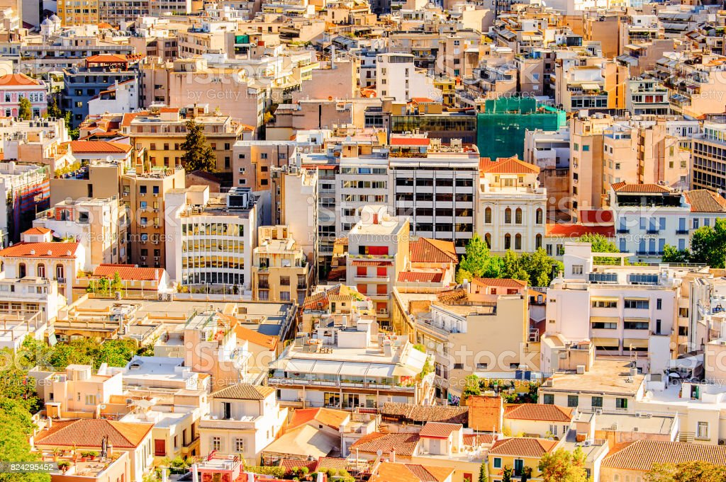 Panorama of Athens, the capital of Greece. stock photo