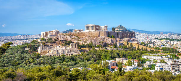 アテネのパノラマとアクロポリスの丘, ギリシャ - アテネ ストックフォトと画像