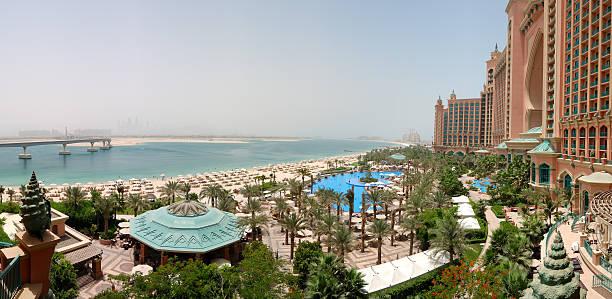 Panorama of Atlantis the Palm hotel's beach, Dubai, UAE stock photo