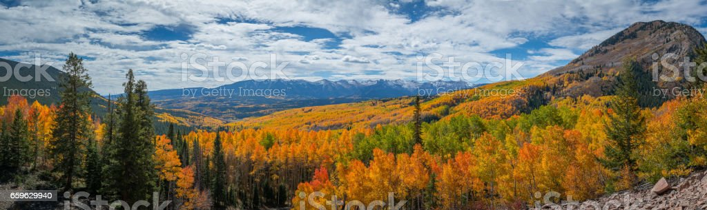 Panorama of autumn colors in Rocky Mountain National Park stock photo
