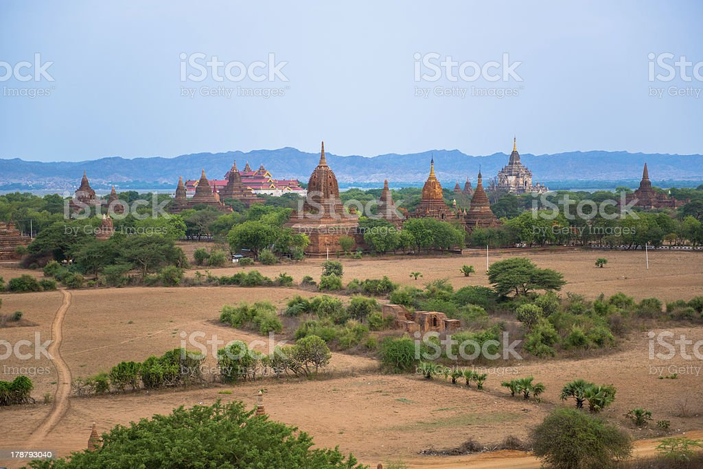 Panorama of Bagan with Irrawaddy river in the background royalty-free stock photo
