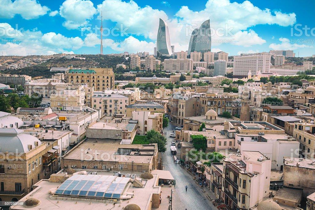 panorama of Baku city, Azerbaijan stock photo