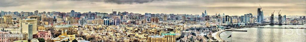 Panorama of Baku city stock photo