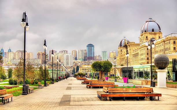 Panorama of Baku from Winter Park stock photo