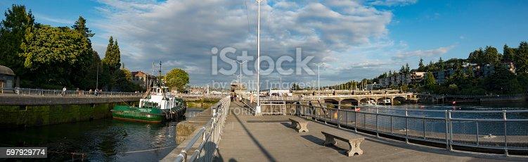 Seattle, Washington, USA - July 17, 2016: Panorama of Ballard Locks in Seattle, Washington