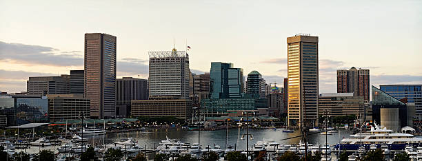 Panorama Of Baltimore At Sunset stock photo