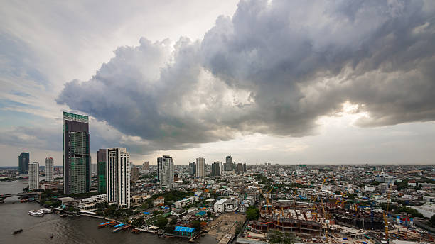 Panorama of Bangkok city stock photo