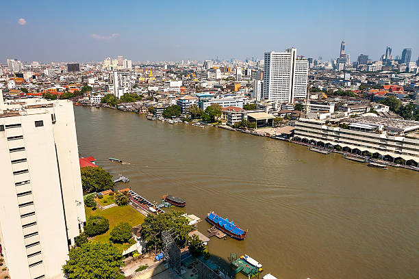 Panorama of Bangkok from the river on a sunny day.