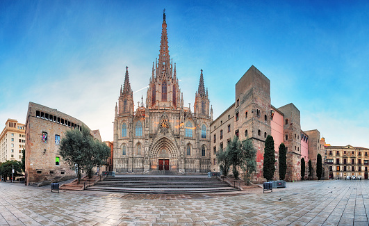Panorama of Barcelona Cathedral. Spain. Barri Gothic
