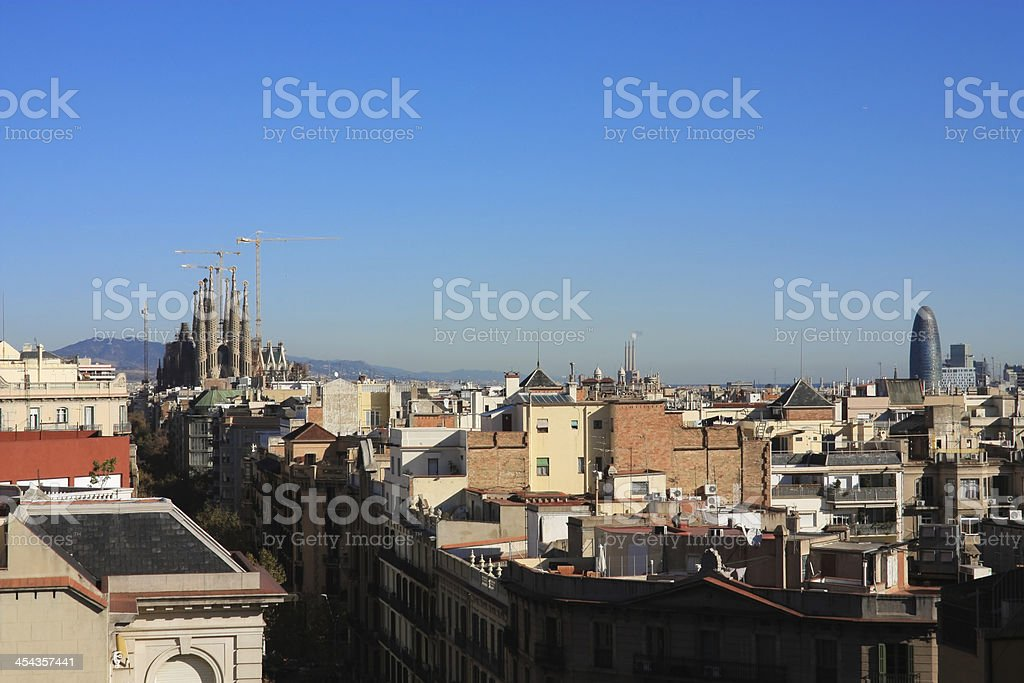 Panorama of Barcelona. Sagrada Familia. royalty-free stock photo