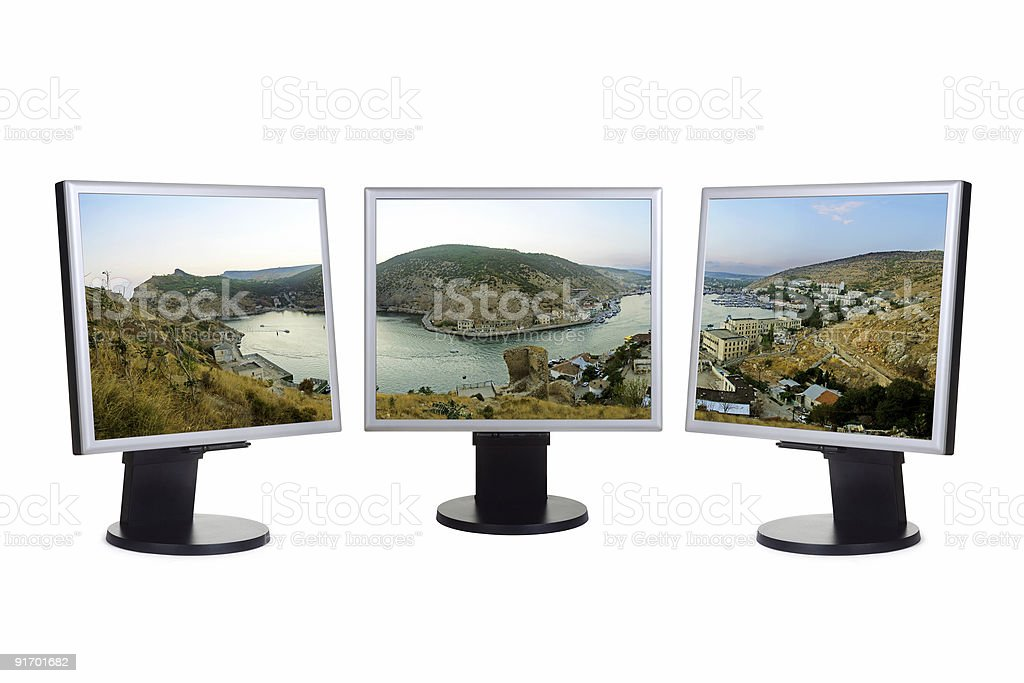 Panorama of bay on computer screens stock photo
