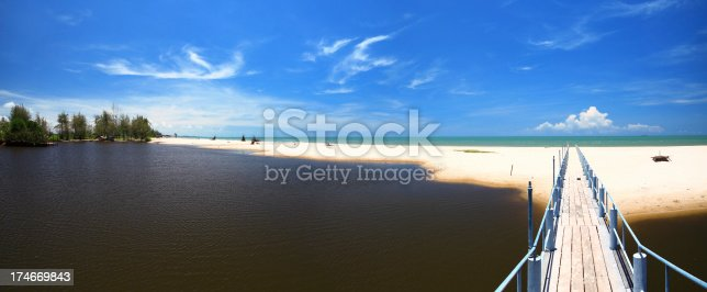 panoramic picture at the beach and bridge