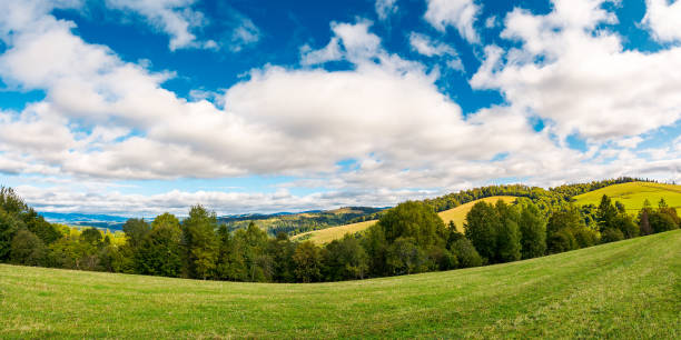 panorama of beautiful autumn countryside stock photo