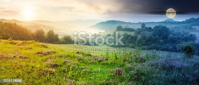 1074120624 istock photo panorama of beautiful foggy landscape in mountains 1074119580