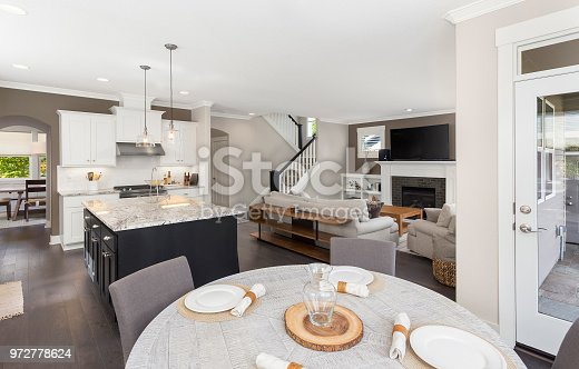 kitchen, living room, and eating nook in newly constructed luxury home