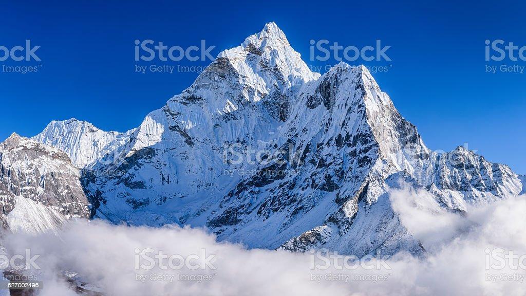 Panorama of beautiful Mount Ama Dablam in  Himalayas, Nepal stock photo