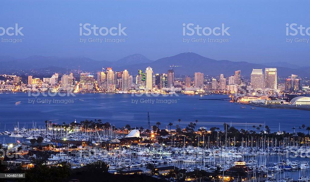 Panorama of beautiful San Diego skyline at dust royalty-free stock photo