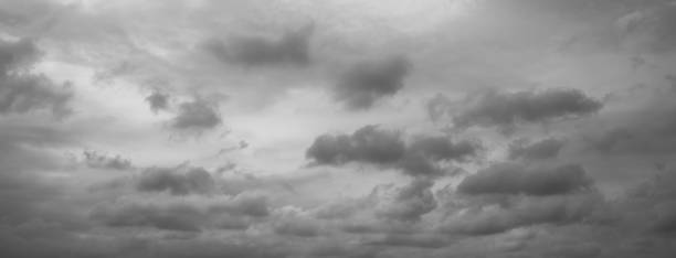 panorama of beautiful thunder clouds. grey overcast dramatic sky. - overcast stock pictures, royalty-free photos & images