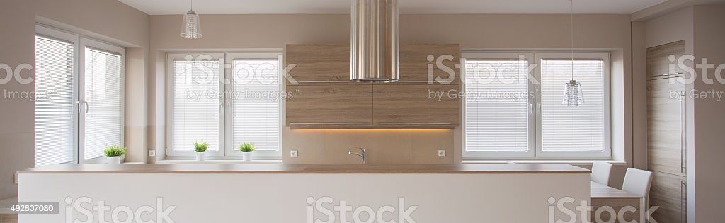 Panorama of beauty beige kitchen stock photo