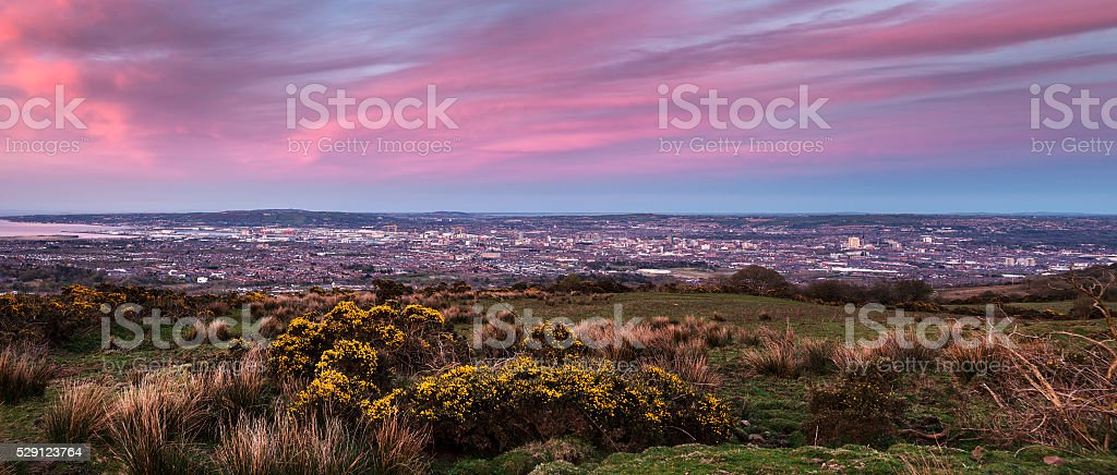 Panorama de Belfast al anochecer - foto de stock