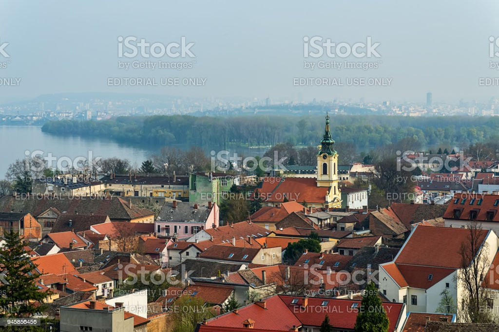 Panorama of Belgrade and roofs of Zemun from the tower of Gardos. stock photo