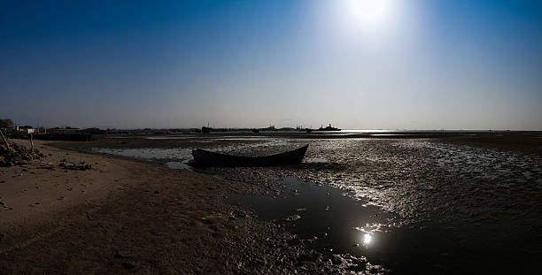 panorama of berbera port and beach with boats somalia - somalia stock photos and pictures