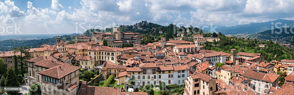 Panorama of Bergamo seen from the old town zbiór zdjęć royalty-free