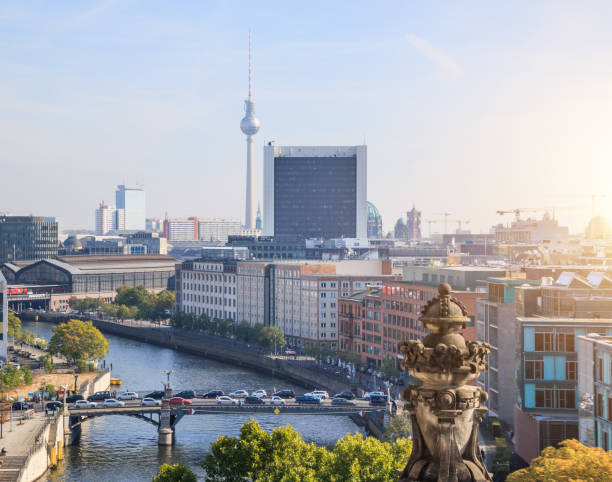 Panorama of Berlin from the Reichstag building stock photo
