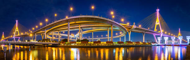 Panorama of Bhumibol Bridge in Thailand. stock photo