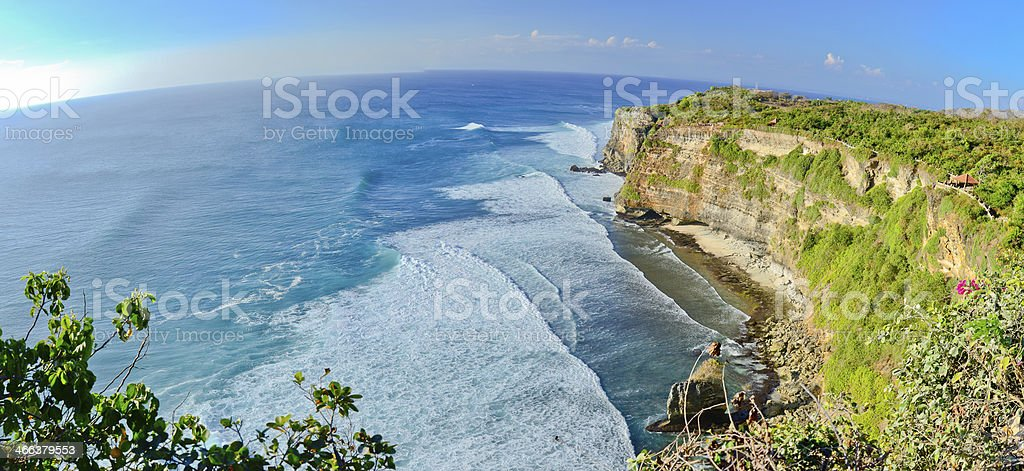 Panorama of Big cliffs at Uluwatu stock photo