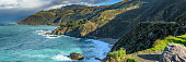 Panorama of Big Sur Coast and Pacific Ocean with aqua water