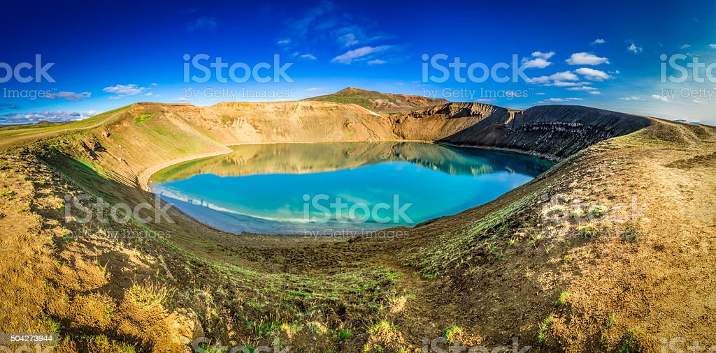 Panorama of blue lake in the volcano crater, Iceland stock photo