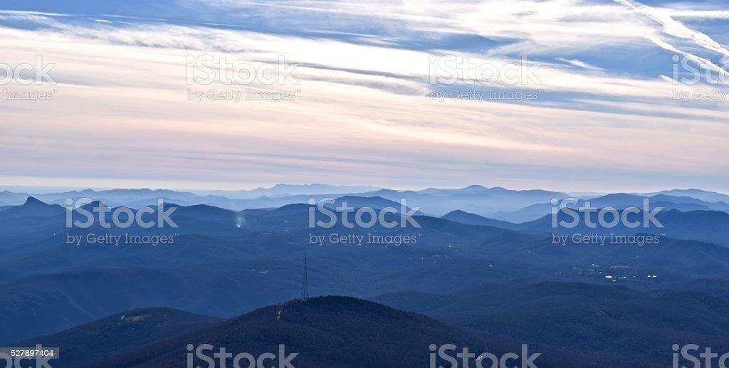 Panorama of Blue Ridge Mountains at Dusk stock photo