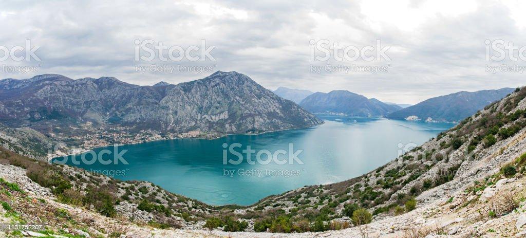 Panorama of Boca Kotor bay, Montenegro. стоковое фото