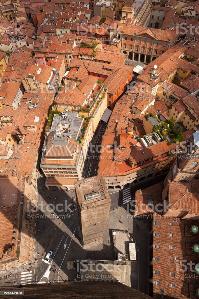 Panorama di Bologna dalla Torre degli Asinelli stock photo