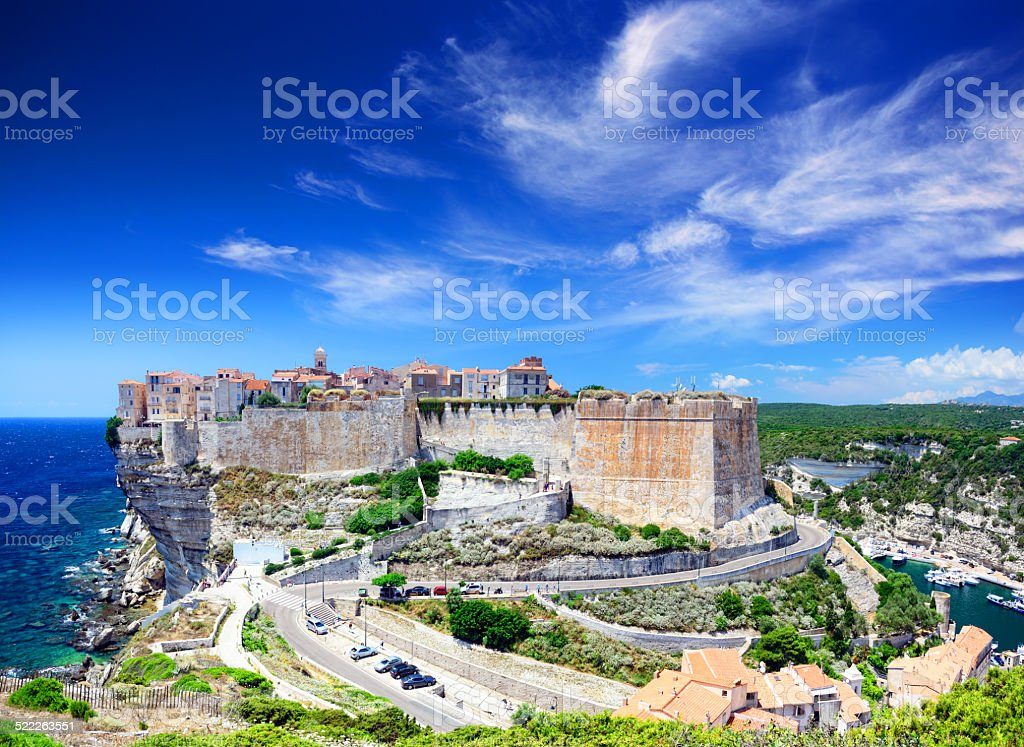 Panorama of Bonifacio stock photo