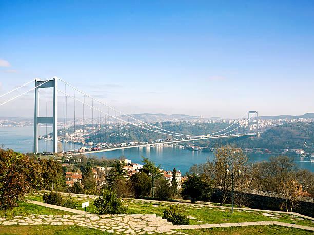 Panorama of Bosphorus Bridge in Istanbul, Turkey stock photo