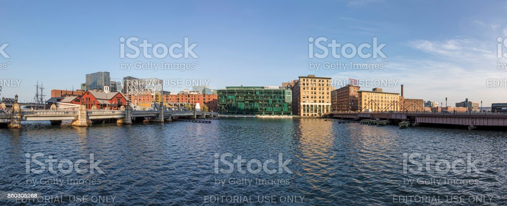 panorama of Boston skyline with Boston tea party ship and museum, old wharf area and modern buildings stock photo