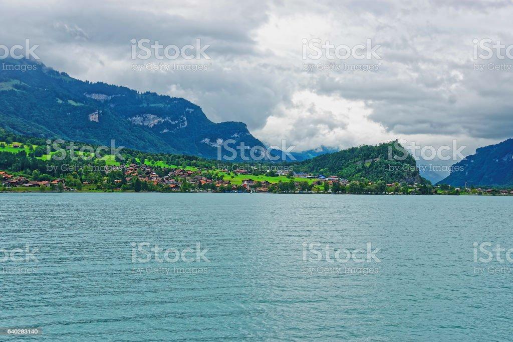 Panorama of Brienz Lake and Brienzer Rothorn mountain Bern Switzerland stock photo