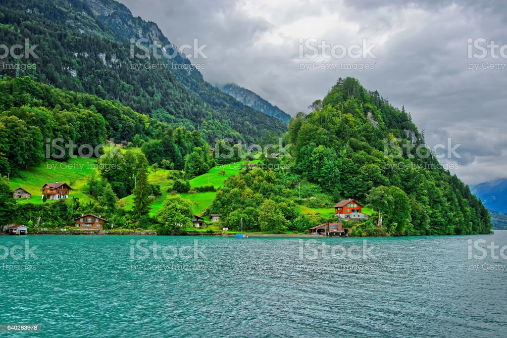 Panorama of Brienz Lake and Brienzer Rothorn mountain Bern Swiss stock photo